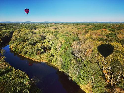 balloon over river
